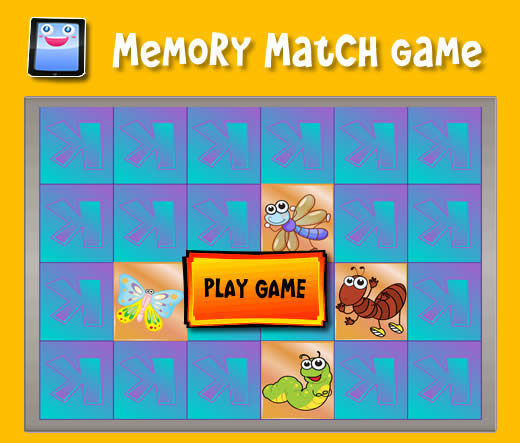 cartoon bugs memory match game for ipad and other tablets