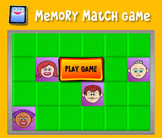 cartoon people memory match game for ipad and other tablets