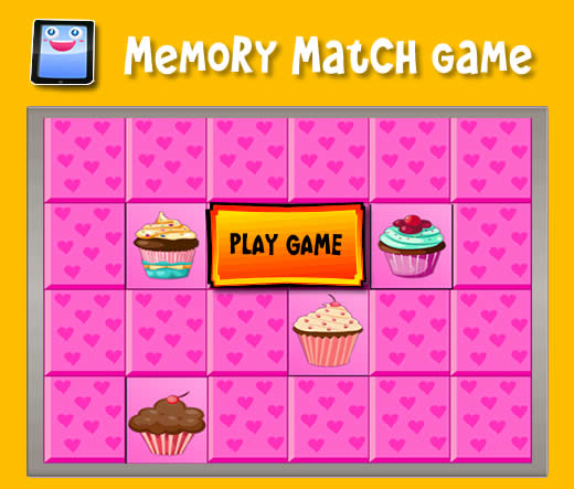 yummy cupcakes memory match game for ipad and other tablets