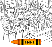 Bears Fox And Racoons In A Classroom Printable Colouring Page
