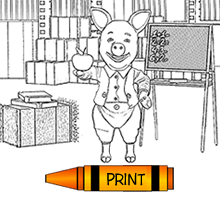 Cartoon Pig Holding an Apple for the Teacher, Coloring Page