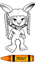 Rabbit with Braided Hair Coloring Page