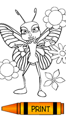 Coloring Page - Butterfly with Flowers