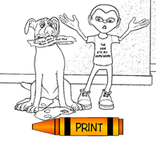 The Dog At My Homework! Free Printable Coloring Book Pages for Kids