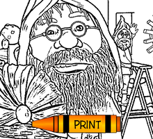 Elves in the Toy Factory Coloring Page for Kids