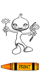 Coloring Page - Creature with Flowers