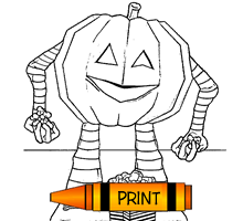 Jack-o'Lantern with Popcorn Treats Coloring Page