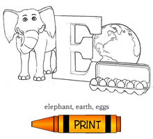 E - Alphabet ABC's Coloring Page