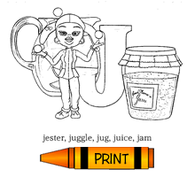 J - Alphabet ABC's Coloring Page