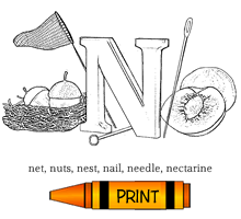 N - Alphabet ABC's Coloring Page