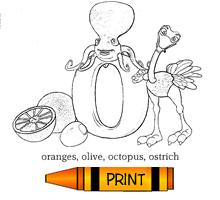 O - Alphabet ABC's Coloring Page