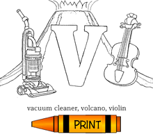 V - Alphabet ABC's Coloring Page