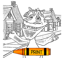 Cartoon Halloween Monster Coloring Page for Kids