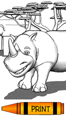 Rhinocerous Free Printable Coloring Book Pages for Kids