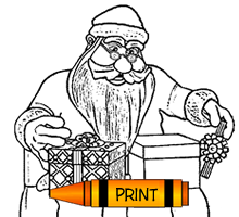 Santa Claus Wrapping Gifts Coloring Page For Kids
