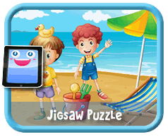 Beach Kids Online mobile and tablet-ready jigsaw puzzle for kids