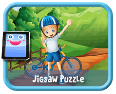 Bike Kid Online mobile and tablet-ready jigsaw puzzle for kids