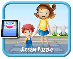 Crossing the Street Online mobile and tablet-ready jigsaw puzzle for kids