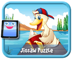 Duck Reading Online mobile and tablet-ready jigsaw puzzle for kids