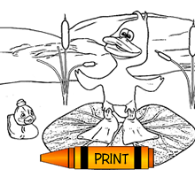 Ducks Free Printable Coloring Page
