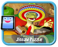 Festive Gecko Online mobile and tablet-ready jigsaw puzzle for kids