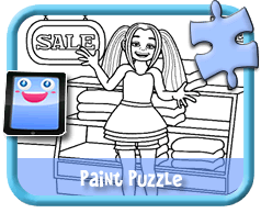 Girl Shopping - Online Paint Puzzle for Kids