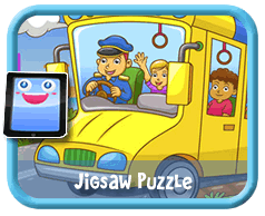 Yellow School Bus Online mobile and tablet-ready jigsaw puzzle for kids