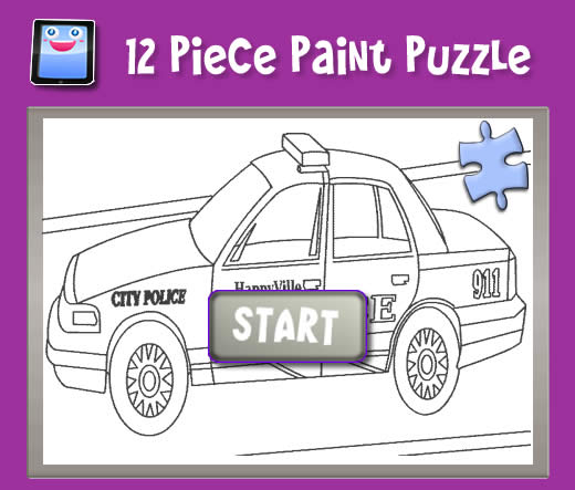 Police Car - 12 Piece Paint Puzzle Game for Kids