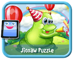 Green Blob Online mobile and tablet-ready jigsaw puzzle for kids
