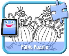Pumpkin Turkies - Online Paint Puzzle for Kids