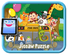 Zoo Bus Online mobile and tablet-ready jigsaw puzzle for kids